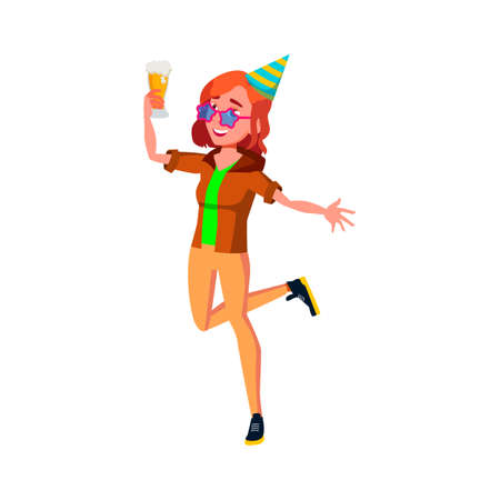 happy girl enjoying on birthday party and drinking beer alcoholic drink cartoon vector. happy girl enjoying on birthday party and drinking beer alcoholic drink character. isolated flat cartoon illustration