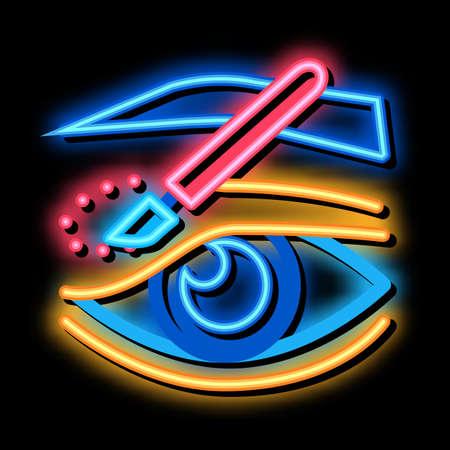 eyelid surgery incision neon light sign vector. Glowing bright icon eyelid surgery incision sign. transparent symbol illustration Vecteurs