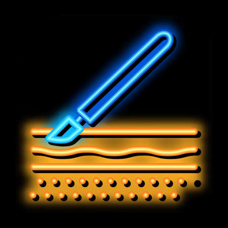 surgical incision neon light sign vector. Glowing bright icon surgical incision sign. transparent symbol illustration