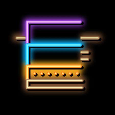 floating foundation neon light sign vector. Glowing bright icon floating foundation sign. transparent symbol illustration