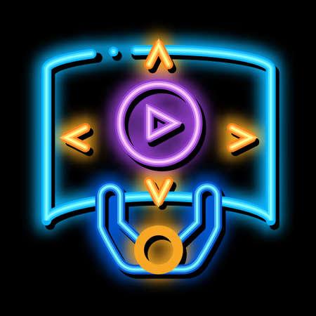 comprehensive choice man neon light sign vector. Glowing bright icon comprehensive choice man sign. transparent symbol illustration