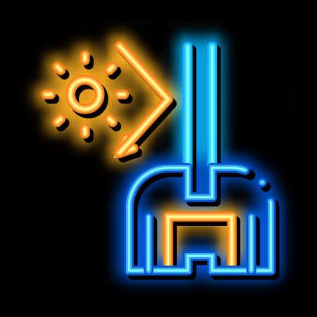 sun glass window neon light sign vector. Glowing bright icon sun glass window sign. transparent symbol illustration