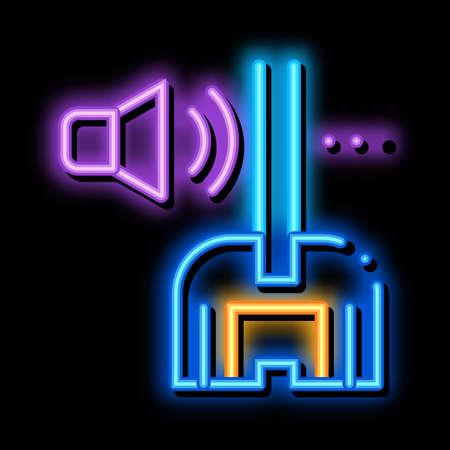 soundproof window glass neon light sign vector. Glowing bright icon soundproof window glass sign. transparent symbol illustration