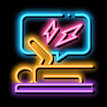 emotionally stressed person neon light sign vector. Glowing bright icon emotionally stressed person sign. transparent symbol illustration
