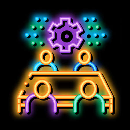 discussion of settings by people neon light sign vector. Glowing bright icon discussion of settings by people sign. transparent symbol illustration