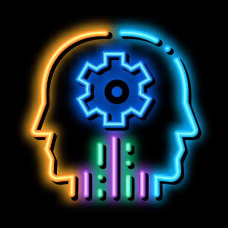 cerebral hemisphere settings neon light sign vector. Glowing bright icon cerebral hemisphere settings sign. transparent symbol illustration