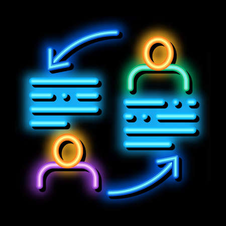 knowledge sharing neon light sign vector. Glowing bright icon knowledge sharing sign. transparent symbol illustration