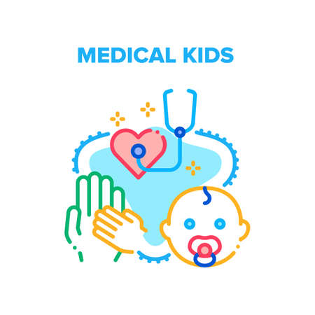 Medical Kids Vector Icon Concept. Medical Examination, Diagnosis And Disease Treatment. Doctor Pediatrician Examining Newborn Child Little Patient Heart With Stethoscope In Hospital Color Illustration