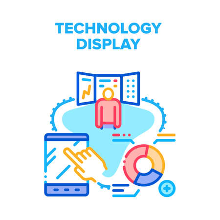 Technology Display Device Vector Icon Concept. Tablet With Touchscreen System And Computer Screen, Technology Display Device. Analysis Circle Diagram On Pc Monitor Color Illustration