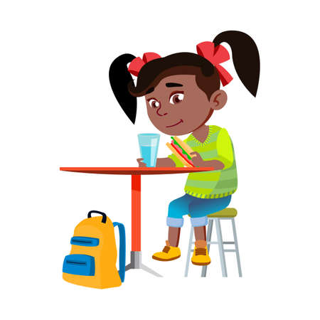 Girl Child Eating Breakfast In Kitchen Vector. African Lady Kid Eating Sandwich And Drinking Water At Table In Dining Room, School Backpack Under Desk. Character Infant Flat Cartoon Illustration