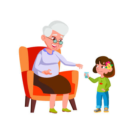 Girl Child Giving Water Cup To Grandmother Vector. Preteen Granddaughter Give Water Cup Elderly Woman. Characters Kid Help And Offering Drink Thirsty Mature Lady Flat Cartoon Illustration