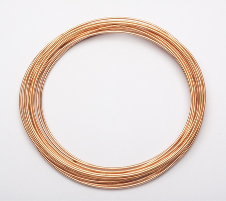 copper wire on white photo