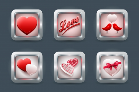 os: Vector love application icon set for mobil devices  Valentine Illustration