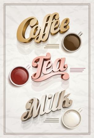 tarde de cafe: Coffee Vector vintage, té y leche plantilla cartel diseño Elementos ilustraciones altamente detalladas se acodan por separado en archivo vectorial