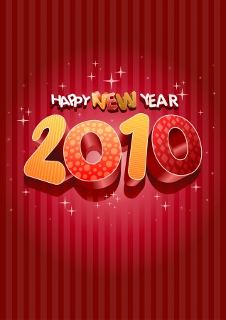 Happy new year 2010! All elements are layered separately in vector file. Stock Vector - 18910774