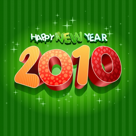 Happy new year 2010! All elements are layered separately in vector file. Stock Vector - 18910792