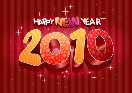 2010 new year composition. 3d vector design. All elements are layered separately in vector file. Stock Vector - 18910677