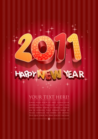 Happy new year 2011! All elements are layered separately in vector file. Stock Vector - 18910787