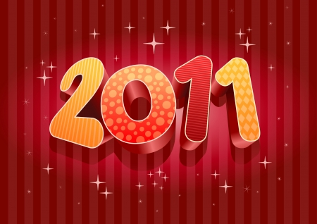 2011 new year composition. 3d vector design. All elements are layered separately in vector file. Stock Vector - 18910503