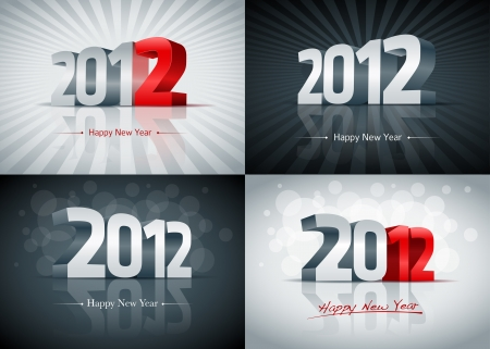 wish of happy holidays: 2012 Happy New Year card set. All elements are layered separately. Easy editable.