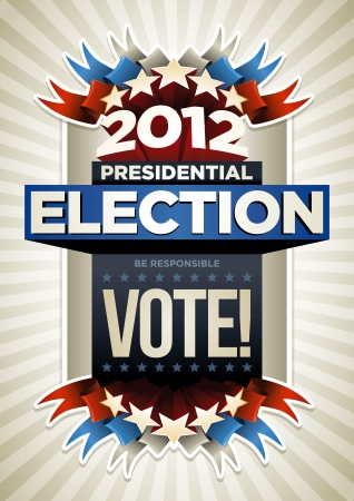 presidential election: 2012 Presidential Election Poster Design. Elements are layered separately in vector file.