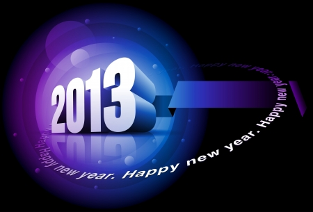Vector 3d 2013 and 'Happy New Year' text. Elements are layered separately in vector file. Vector