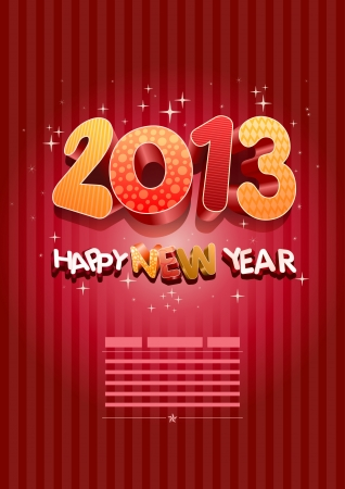 Happy new year 2013! New year design template. All elements are layered separately in vector file. Easy editable. Stock Vector - 18910994