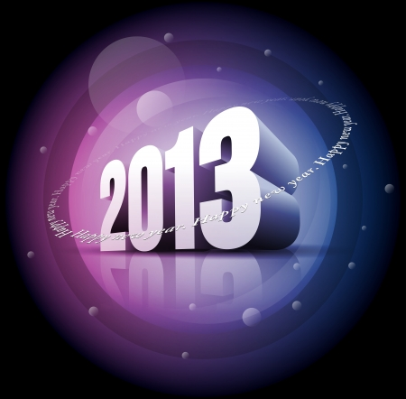 Vector 3d 2013 and 'Happy New Year' text. Stock Vector - 18911067