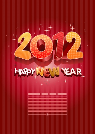 new year's eve: Happy new year 2012! New year design template. Illustration