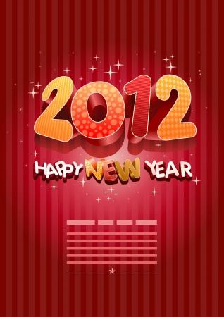 sylwester: Szczęśliwego nowego roku 2012! Nowy rok szablon.