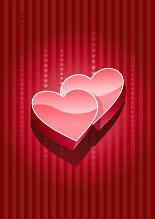 lustful: Vector 3d heart on red background. All elements layered separately in vector file. Illustration