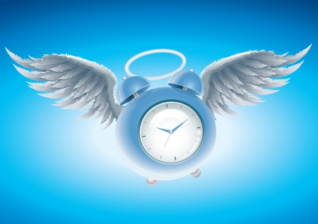 Winged clock illustration   Illustration