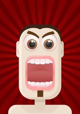 mouth open: angry man portrait  All elements are layered separately