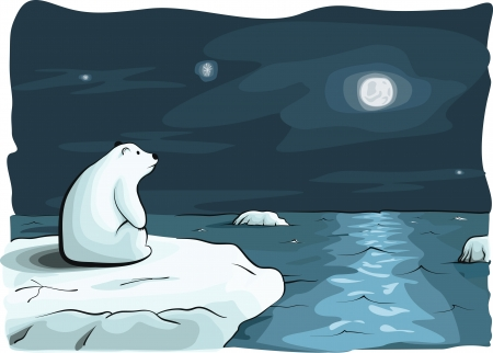 arctic: doublemoon and bear. hand drawed vector illustration. Illustration