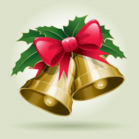 Christmas Bells vector illustration. All elements are layered separately in vector file.