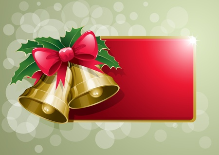 Christmas bells banner vector illustration. Elements are layered separately. Vector