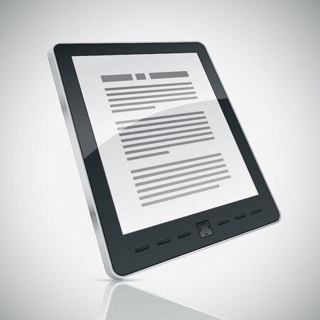ebook reader: Electronic book (e-book) reader. 3d vector illustration.