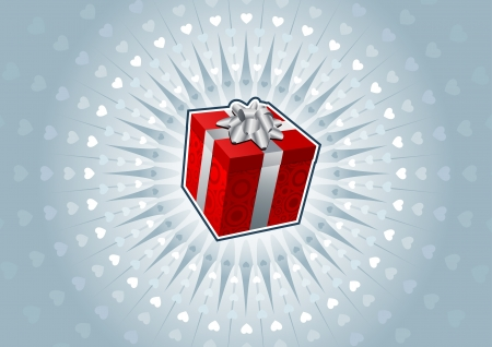 Red gift box on heart shaped abstract background. Vector