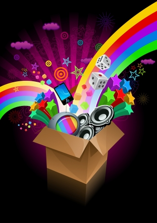 magic box: Exploding gift box on black. All elements are layered separately in vector file.