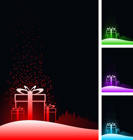 gift boxes background set. black background. Stock Vector - 18910704