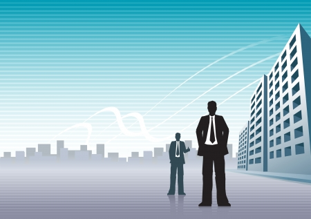 siluetas: Businessmen and buildings with copy space  Illustration
