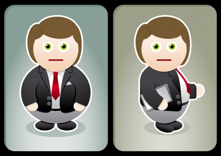 Cartoon business man  two sides Stock Vector - 18921807