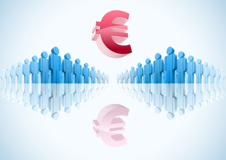 Euro. 3d vector group of people illustration Stock Vector - 18910910