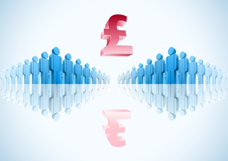 Pound. 3d vector group of people illustration Stock Vector - 18910908