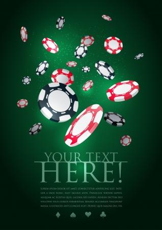 Poker gambling chips poster template   Stock Vector - 18924559