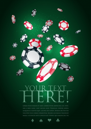 las vegas casino: Poker gambling chips poster template   Illustration