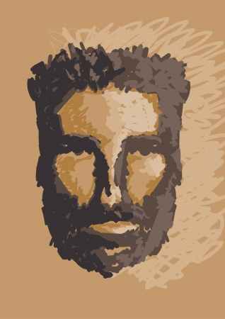 caveman portrait hand draw illustration  Vector