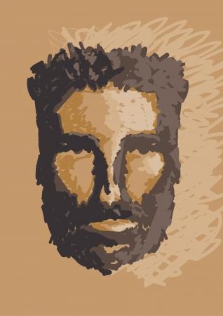 hombre prehistorico: hombre de las cavernas retrato ilustraci�n mano empate