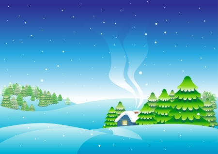 christmas house  Merry christmas card  Vector