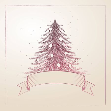 Vector hand drawn christmas tree illustration Stock Vector - 18911032